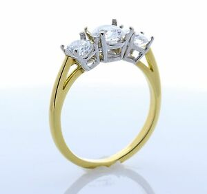 18K Yellow Gold and Platinum 3 Stone Setting (size 8) SIZABLE
