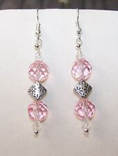 Handmade SPARKLING PINK CRYSTAL GLASS BEADS & SILVER ACCENT DROP DANGLE EARRINGS