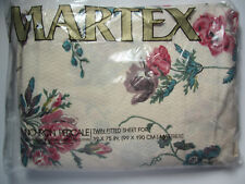 Twin Fitted Sheet - Pink & Teal Carnations & Roses - Vintage Martex New in Pkg!