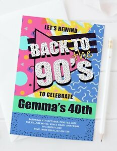 10 Personalised 90s Party Invitations - 90's retro 40th 30th birthday bright