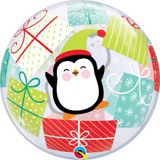 "CHRISTMAS PARTY SUPPLIES BALLOON 22"" PENGUINS & PRESENTS BUBBLE QUALATEX BALLOON"