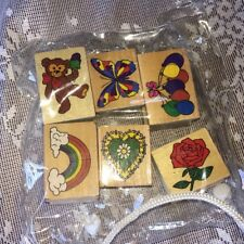 LOT OF  6 wood mounted rubber stamps 5 NEW 1 USED