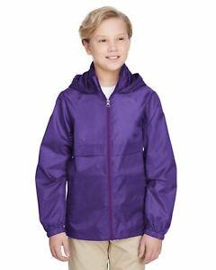 Team 365 Boys Lightweight Jacket Full Zip  Water Resistant Finish TT73Y