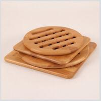 4pc/Set Bamboo Heat-resistant Non-slip Hot Pot Pad Teapot Trivet Holder Wood 66