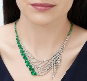 Magnificent Pear Cut 61.51CT Emerald With Shiny White CZ Gorgeous Fine Necklace