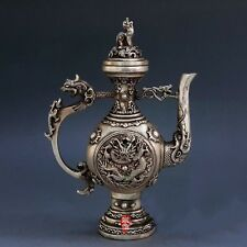"""9"""" Chinese Fengshui Pure Silver Dragon Lion Wine Pot Flagon Kettle Teapot Statue"""
