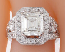 18k White Gold Emerald Cut Diamond Solitaire Ring w/ Accent Stones TDW = 4.5 ct