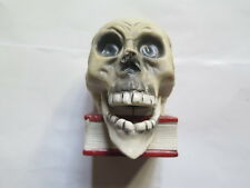 VESTA MATCH HOLDER & STRIKER in the SHAPE of SKULL in BISQUE CHINA c1910 NODDER