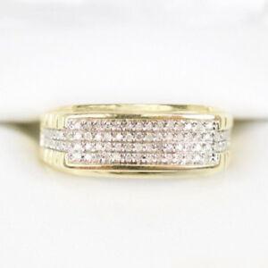 Mens Diamond Wedding Band Engagement Pinky Ring 14K Yellow Gold Fn Round 1.50 Ct