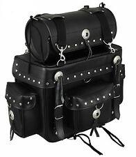 Harley Style Tek Leather Motorcycle Cruiser Sissy Bar Saddle Bag Motorcycle Rack