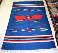 """Chimayo Blue Thunderbird Motif Blanket c.1950s 83"""" x 51"""""""