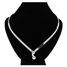 Unique Silver Choker Necklace Collar With Ball Clasp in Front (CT9)