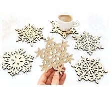 Untersetzer 6er Set Schneeflocken Sterne MDF Holz Glasuntersetzer