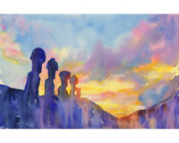 Moai statues on Easter Island- Chile watercolor fine art painting (print)