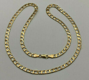 """9ct Gold Hallmarked 20"""" Bevelled Edge Square Curb Chain.  Goldmine Jewellers."""