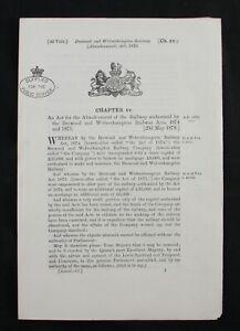 Victorian Railways Brewood and Wolverhampton Railway (Abandonment) Act 1879