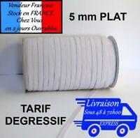 Elastique blanc plat 5mm fabrication  masque tissus couture 5/10/20/50 Mètres