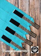 Horse Polo Leg Wraps Stable Wraps Set of 4 Turquoise with Amber Cheetah