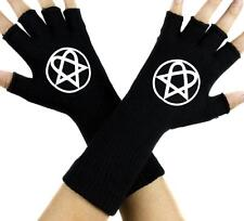 HIM Heartagram Black Fingerless Gloves Arm Warmers Ville Valo Gothic Metal Punk