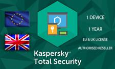 KASPERKSY TOTAL SECURITY 1 DEVICE OR PC 1 YEAR EU GENUINE LICENSE
