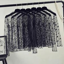Summer Women Lace Blouses Shirt Sexy tops mesh Blouses See-through Polka Dot