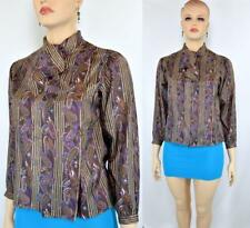 Vtg 70s 80s Silky Paisley Print Asym Pussy Bow Tie Neck Blouse Top Shirt L