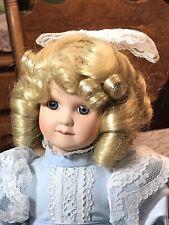 Vintage 12 inch porcelain doll in blue Victorian Dress/shoes