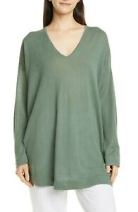 NWT $218 Eileen Fisher NORI Org. Linen/Cotton V-Neck Boxy Long Tunic S/M  L/XL