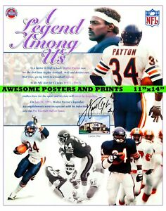 """NFL Chicago Bears, Walter Payton signed Large Poster Reprint 11""""x14"""""""