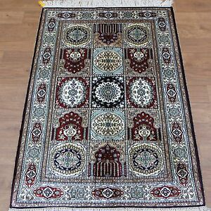 Yilong 2.5'x4' HandKnotted Silk Carpets Four Seasons Antistatic Floral Rug 401B