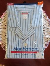 Vintage Manhattan Mens Long Sleeve and Leg Pajamas 3X Blue Stripe New In Package