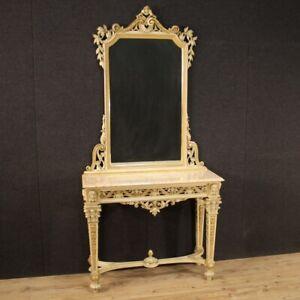 Consola con espejo estilo antiguo Luis XVI mesa mueble de madera lacada 900