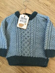 Traditional Hand Knitted Child's Aran Style Wool Blend Crew Neck Jumper Age 4-5