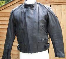 SKIN Vintage Unisex Black Real Leather Motorcycle Motorbike Jacket Size 38