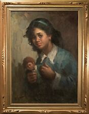 "Alfonso Sarno Original Oil Painting on Canvas, ""Crying Girl w/ Doll"" FINE & RARE"