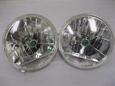 "Street Rod 7"" Glass Tri Bar H4 Headlights w Amber Turn Signal Clear Lens"