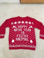 RED NEW YEAR JUMPER NOVELTY MENS S/M PARTY XMAS PRESENT WINTER SPORT