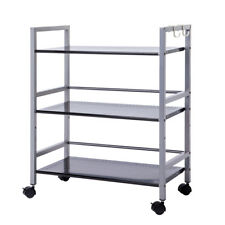 3-Tier Wire Mesh Rolling Cart for Serving Utility Organization Kitchen Cart US