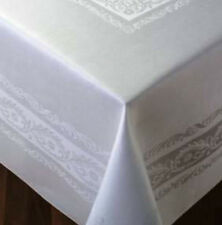 Thomas Ferguson Fine Scroll White Linen Double Damask Rec Tablecloth 72inx126in