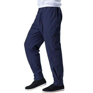 Linen Martial Arts Tai Chi Trousers Bruce Lee Kung Fu Wing Chun Pants Ankle-Tied