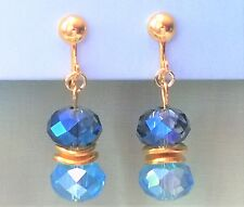 "Aqua & Midnight Blue Crystal CLIP ON Earrings Gold tone 1.6"" Long"