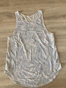 Lululemon 6? Tank Top lightweight breathable white/blue/grey mesh back panel EUC