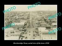 OLD LARGE HISTORIC PHOTO OF BRECKENRIDGE TEXAS, AERIAL VIEW OF THE TOWN c1920