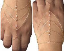 NEW Boho Style Bracelet Bangle Slave Chain Link Finger Rings Hand Harness Women