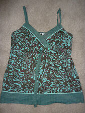 Papaya brown and green cotton vest top, strappy. Size 14