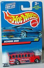 Hot Wheels 2000 School Bus #216 Red w/Hotwheels Graphics Ho5 Wheels Square Card