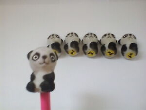 Set of 6 Panda Pencil Toppers Party Bag Fillers Pen Children Animals Black White