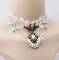 BRIDAL PEARL FLORAL CHOKER WHITE LACE TEARDROP PEDANT HALLOWEEN COSTUME CHOKER