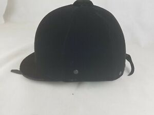 Quality qui-Royal Saddler Equestrian Black Velvet Riding Helmet Size 7 1/4  59