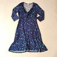 East Blue Floral Twist Front Jersey Dress Size 14 Stretchy Casual Fit and Flare